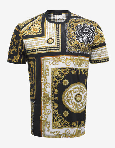 Versace Black & Gold Baroque Print T-Shirt