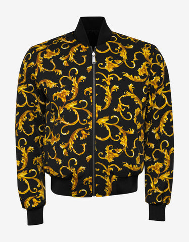 Versace Black & Gold Baroque Reversible Bomber Jacket