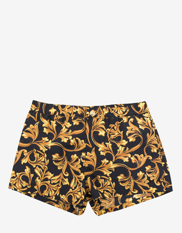 Versace Gym Black & Gold Baroque Swim Shorts