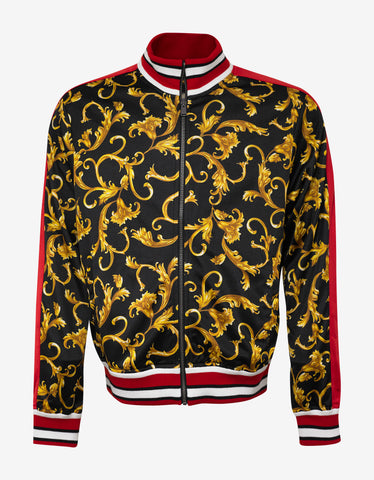 Versace Black & Gold Baroque Zip Sweatshirt