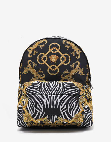 Versace Black & Gold Baroque Print Backpack