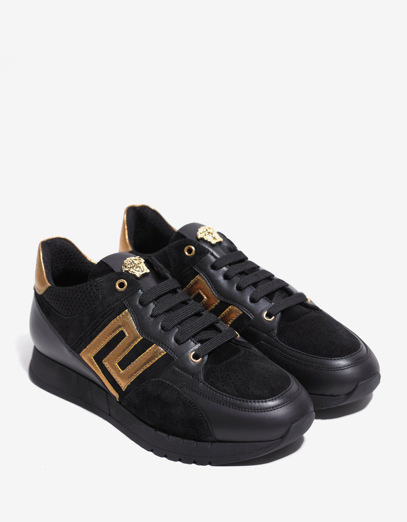 Black & Gold Medusa Running Trainers