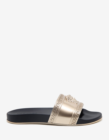 Versace Black & Gold Medusa Embossed Slide Sandals