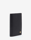 Black Grain Leather Medusa Bi-Fold Card Holder