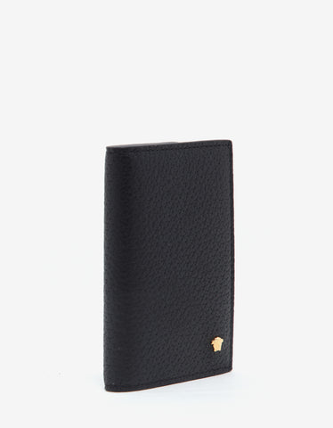 Versace Black Grain Leather Medusa Bi-Fold Card Holder
