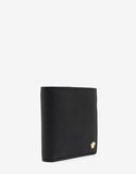 Black Grain Leather Medusa Billfold Wallet