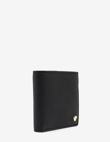 Versace Black Grain Leather Medusa Billfold Wallet