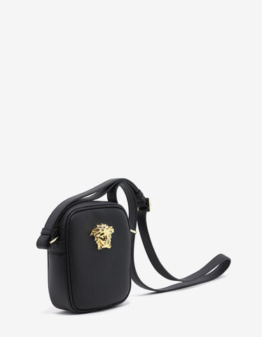 Versace Black Grain Leather Medusa Camera Bag