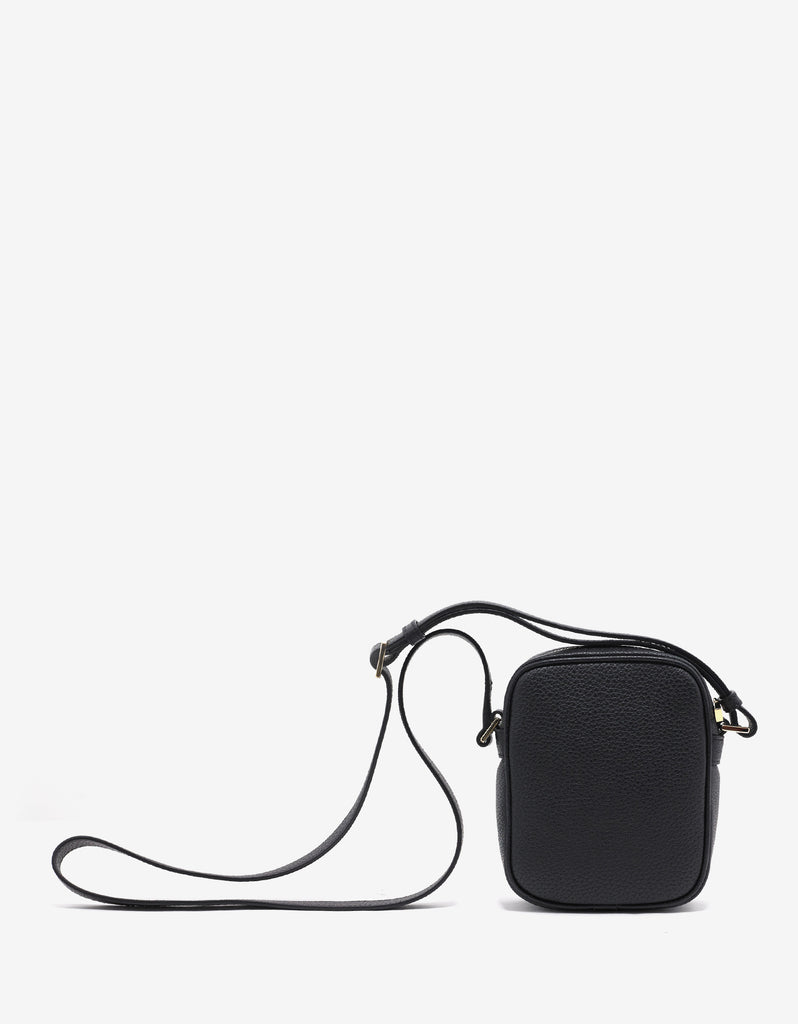 Black Grain Leather Medusa Camera Bag