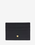 Black Grain Leather Medusa Card Holder