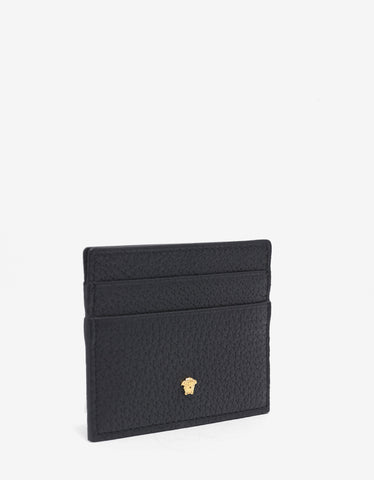 Versace Black Grain Leather Medusa Card Holder