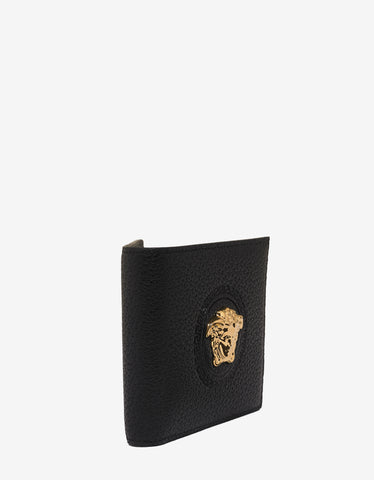Versace Black Grain Leather Medusa Crest Billfold Wallet