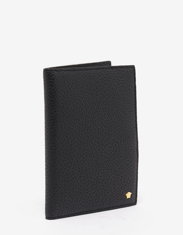 Versace Black Grain Leather Medusa Passport Holder