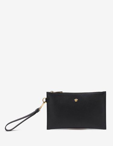 Versace Black Grain Leather Medusa Pouch