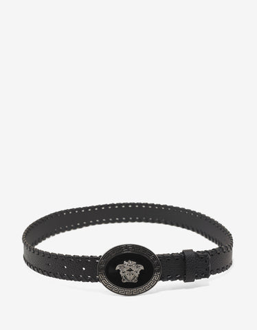 Versace Black Woven Edge Medusa Buckle Belt