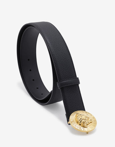 Versace Black Grain Leather Medusa Crest Belt