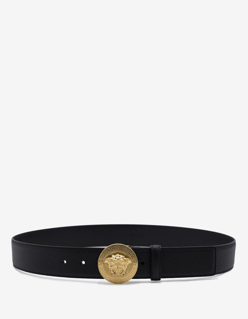 Black Grain Leather Medusa Crest Belt