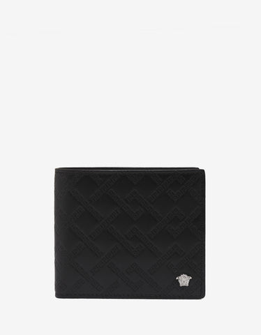 Versace Black Greek Key Medusa Billfold Wallet