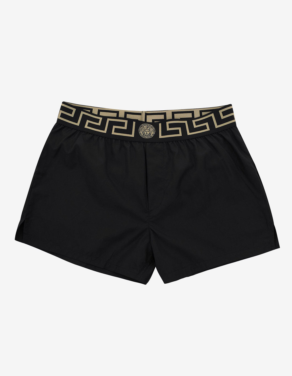 Black Greek Pattern Swim Shorts