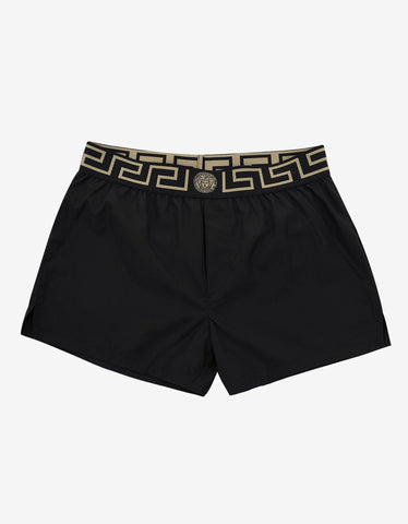 Versace Gym Black Greek Pattern Swim Shorts