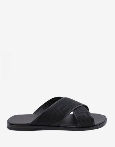 Versace Black Grekko Trim Cross Strap Sandals