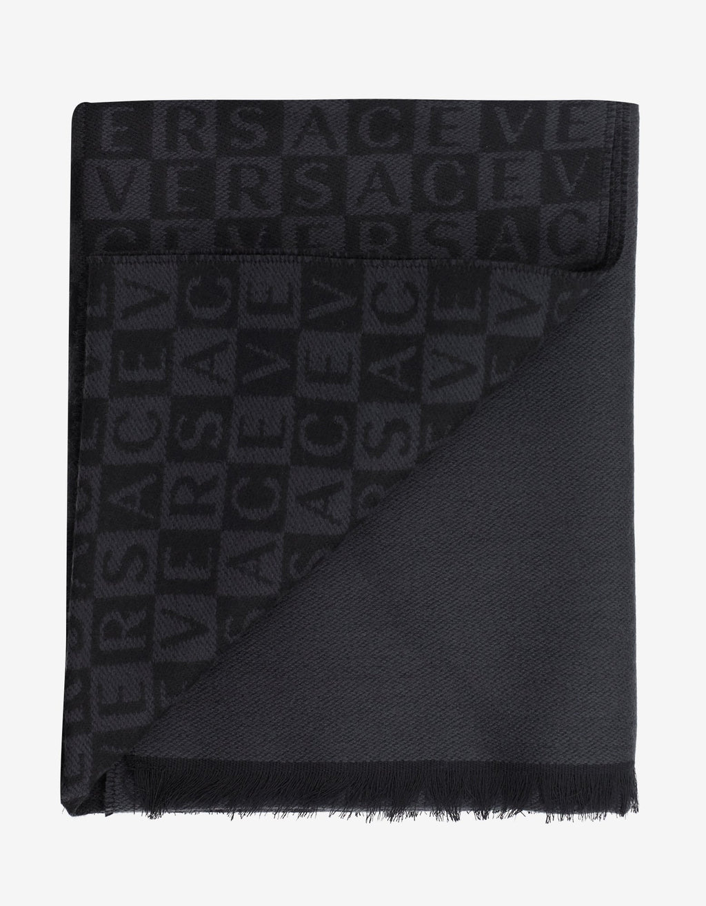 Black & Grey Chequered Logo Wool Scarf -