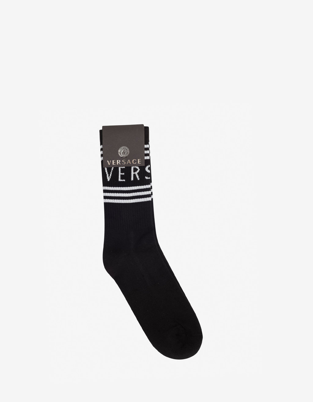 Black Jacquard Logo Socks