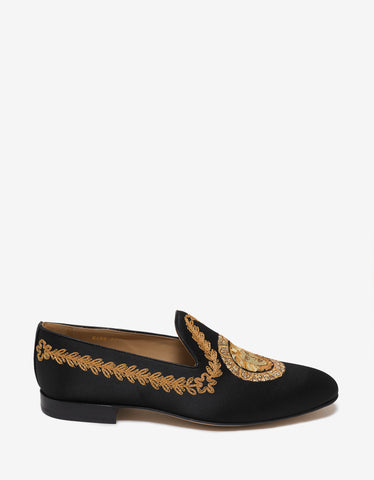Versace Black Medusa Embroidery Satin Loafers