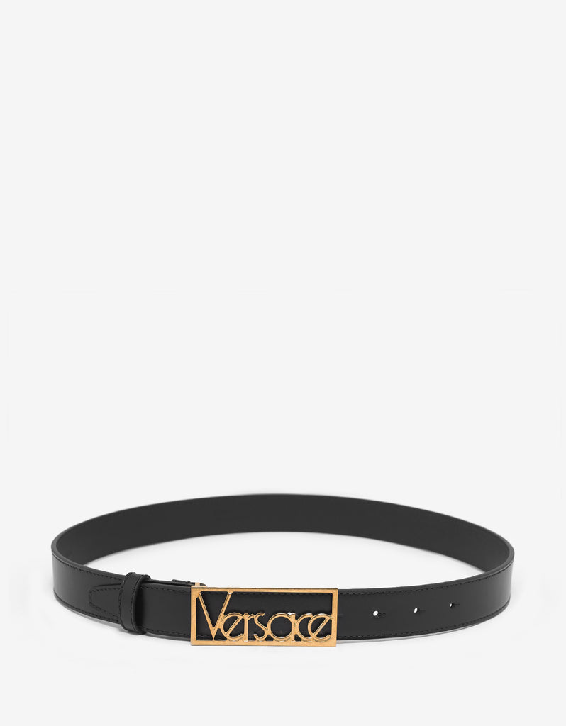 Black Leather Belt with Gold Vintage Logo Buckle