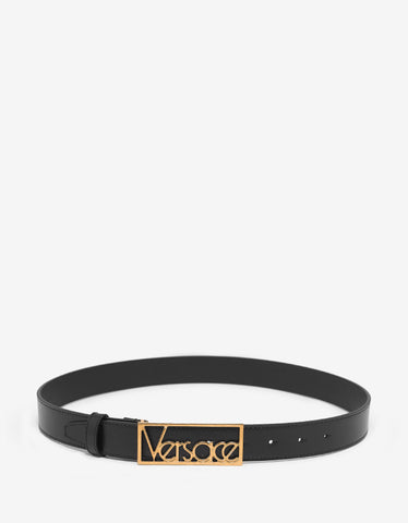 Versace Black Leather Belt with Gold Vintage Logo Buckle