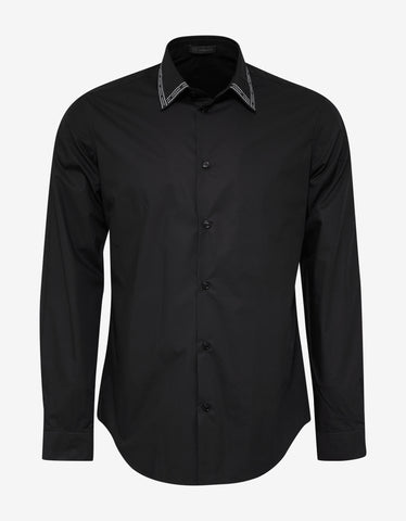Versace Black Logo Trim Collar Shirt