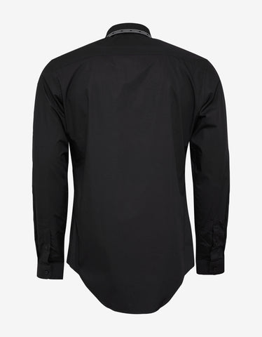 Versace Black Nastro Logo Trim Collar Shirt
