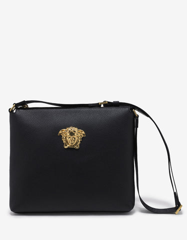 Versace Black Grain Leather Medusa Messenger Bag