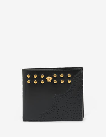 Versace Black Medusa Billfold Wallet with Rivets