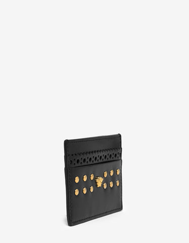 Versace Black Medusa Card Holder with Rivets