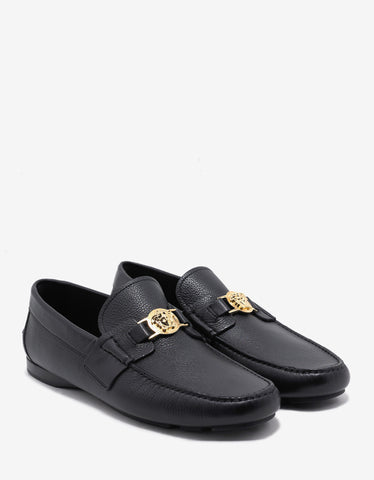 Versace Black Medusa Crest Grain Leather Driving Shoes