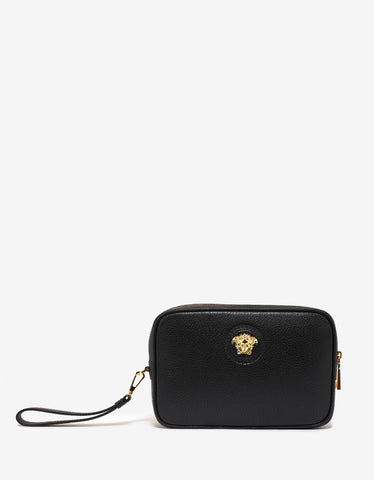 Versace Black Grain Leather Medusa Clutch Bag
