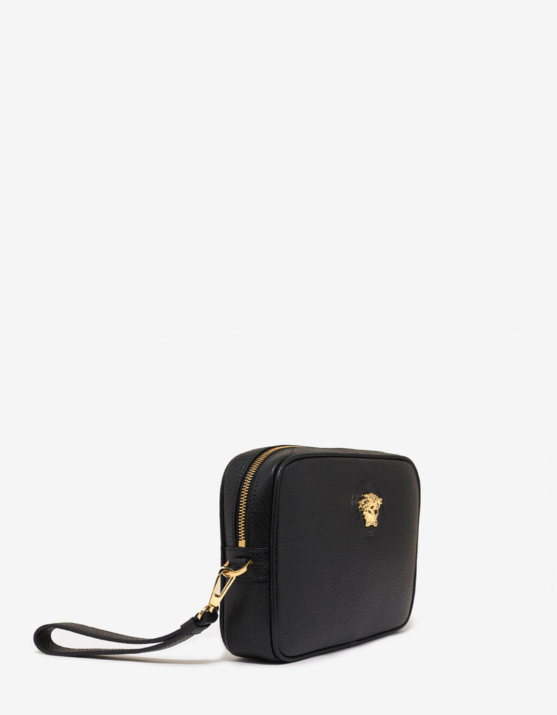 comfortable feel special price for latest style of 2019 Black Grain Leather Medusa Clutch Bag