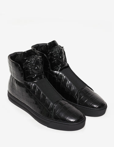 Versace Black Croc Embossed High Top Trainers