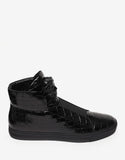 Black Croc Embossed High Top Trainers