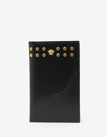 Versace Black Medusa Tall Card Holder with Rivets
