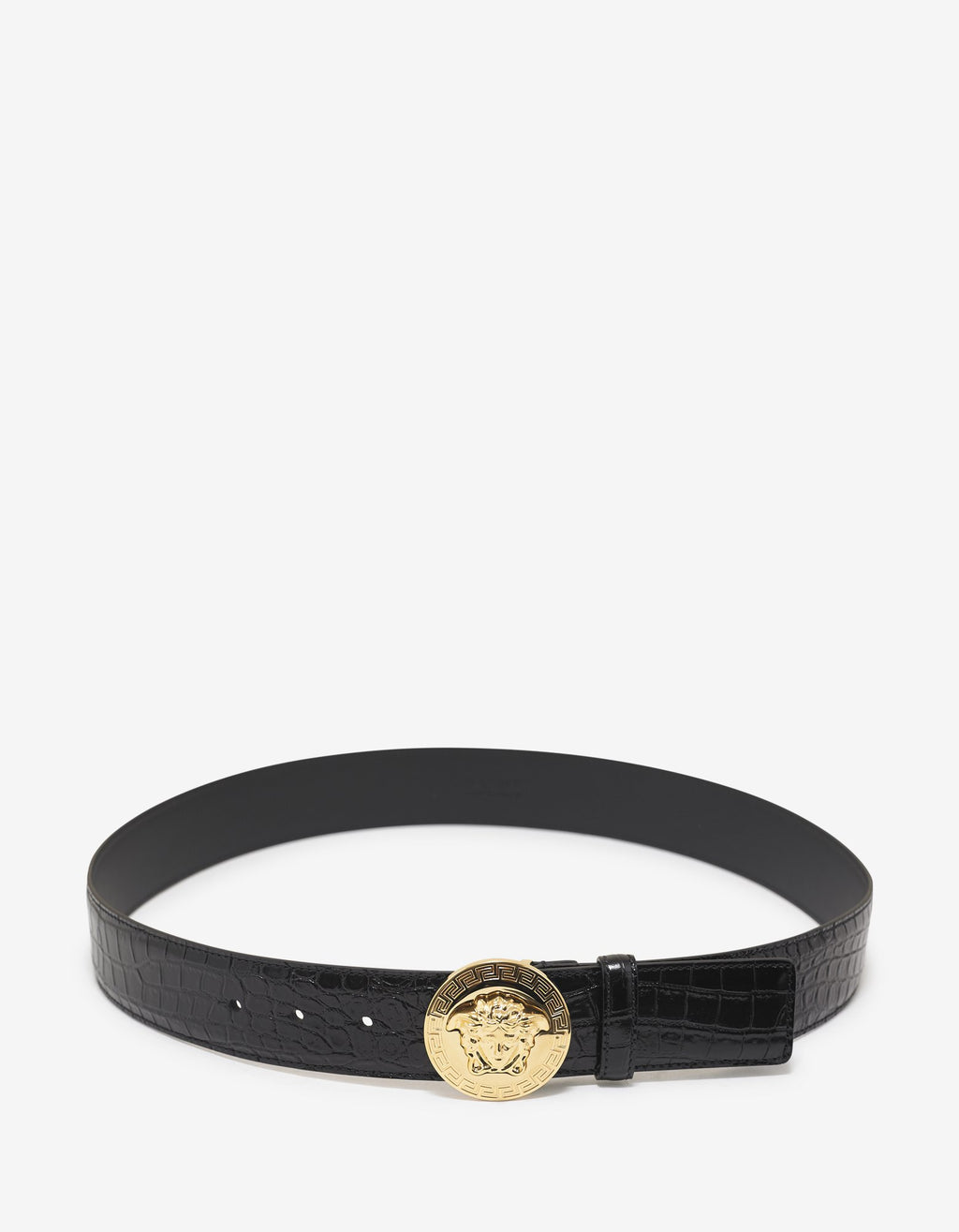 Black Mock Croc Leather Medusa Buckle Belt -