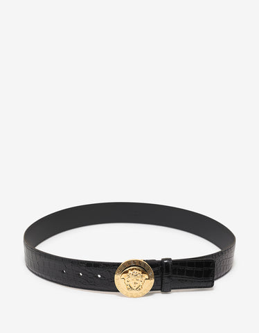 Versace Black Mock Croc Leather Medusa Buckle Belt