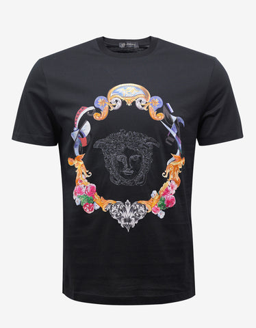 Versace Black T-Shirt with Medusa & Ornate Surround