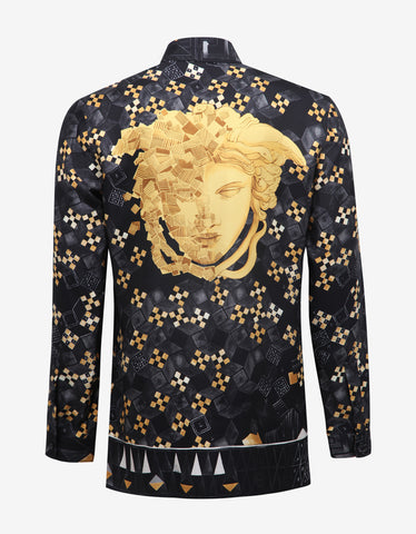 Versace Black New Baroque Silk Shirt