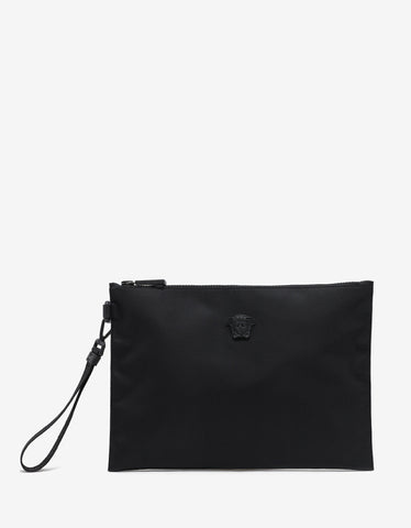 Versace Black Nylon Medusa Medium Pouch