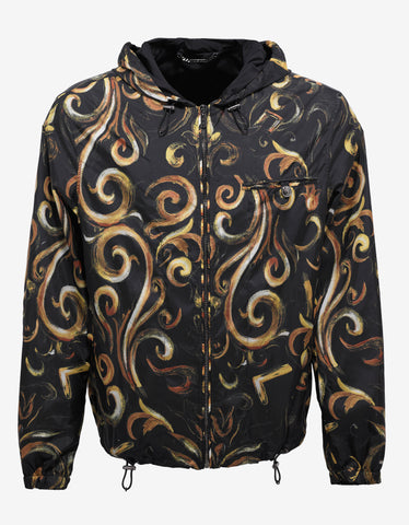 Versace Black Baroque Print Windbreaker
