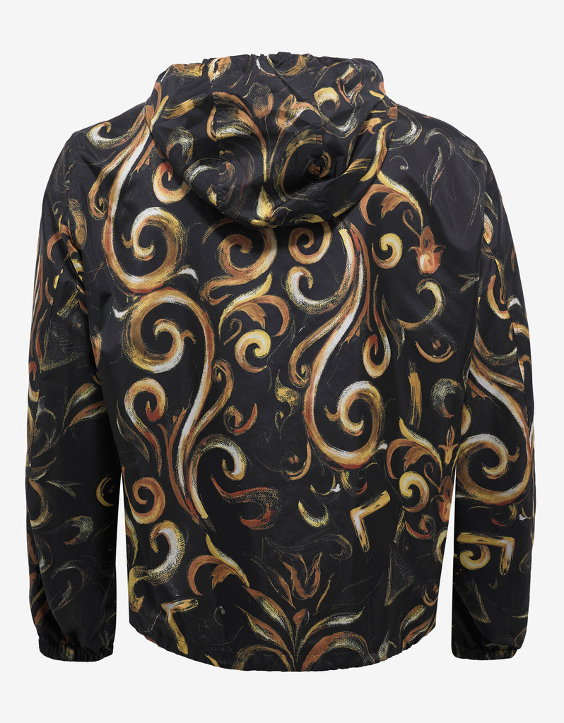 Black Baroque Print Windbreaker