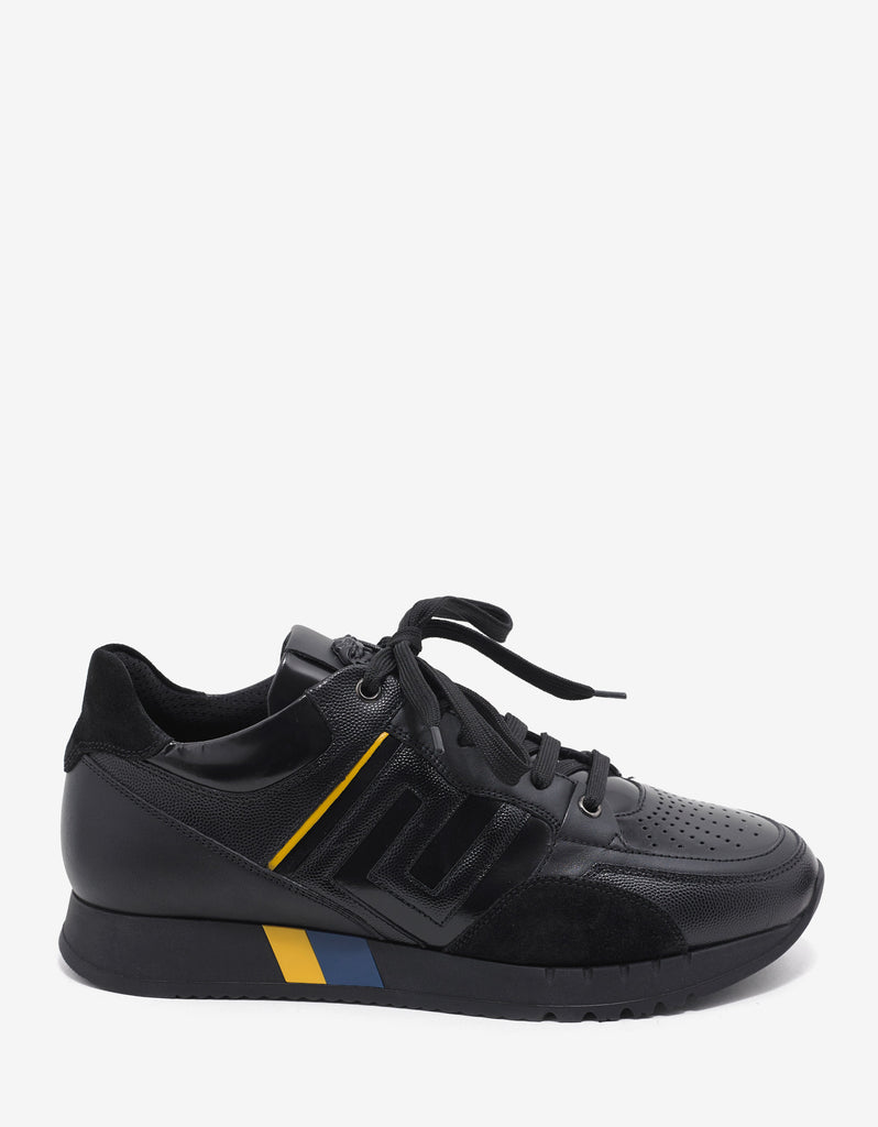Black Panelled Running Trainers
