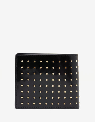 Versace Black Patent Leather Stud Medusa Wallet